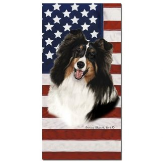 Tri Shetland Sheepdog Beach Towel - Patriotic