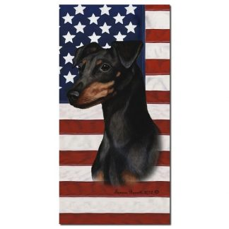 Miniature Pinscher Beach Towel - Patriotic (Black Tan Uncropped)