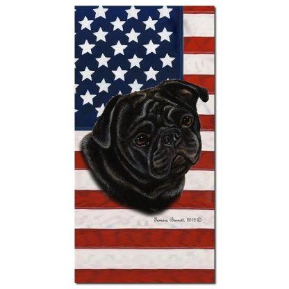Pug Beach Towel - Patriotic (Black)