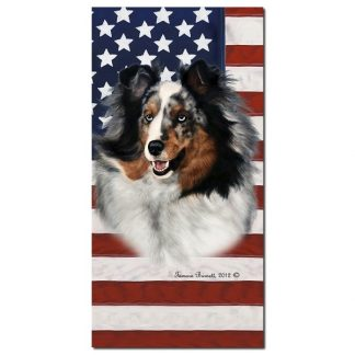 Blue Merle Shetland Sheepdog Beach Towel - Patriotic