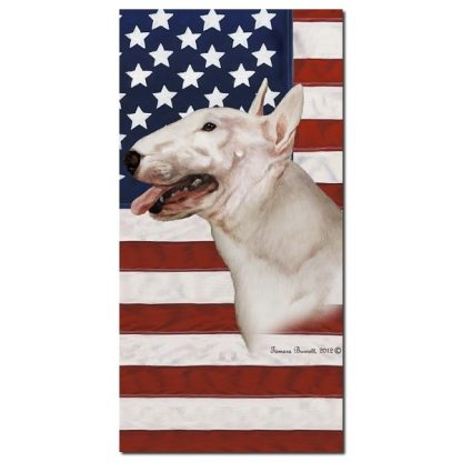 Bull Terrier Beach Towel - Patriotic (White)