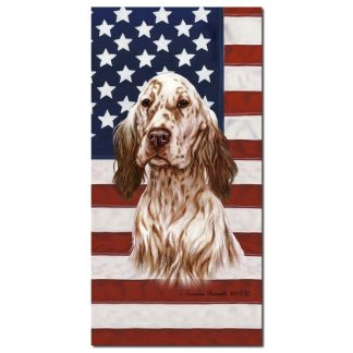 English Setter Beach Towel - Patriotic (Orange)