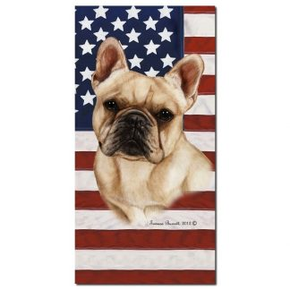 French Bulldog Beach Towel - Patriotic (Cream)