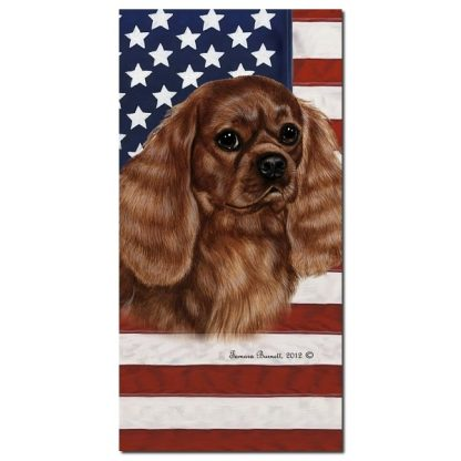 Ruby Cavalier Spaniel  Beach Towel - Patriotic