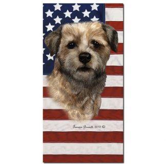 Border Terrier Beach Towel - Patriotic