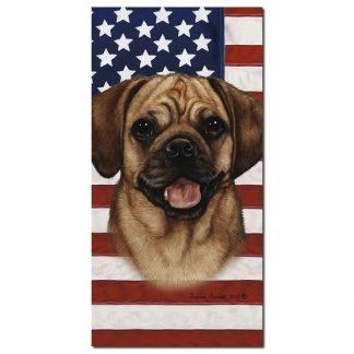 Puggle Beach Towel - Patriotic (Fawn)