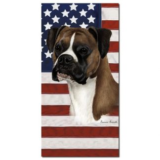 Boxer Beach Towel - Patriotic (Fawn Uncropped)
