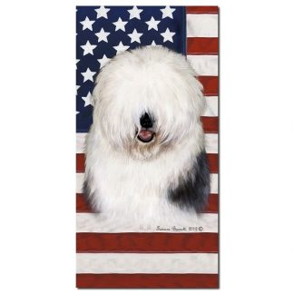Old English Sheepdog Beach Towel - Patriotic