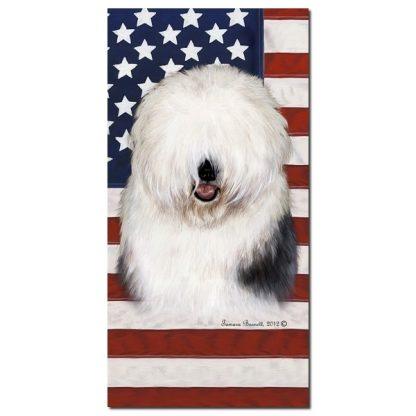 Old English Sheepdog Beach Towel - Patriotic
