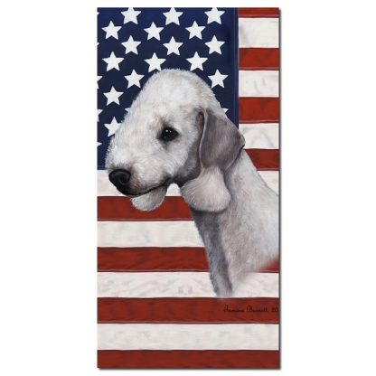 Bedlington Terrier Beach Towel - Patriotic