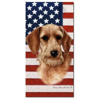 Wirehaired Dachshund Beach Towel - Patriotic (Wheaten)