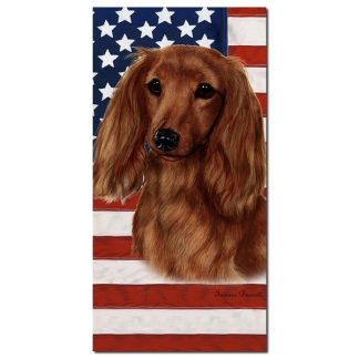 Longhaired Dachshund Beach Towel - Patriotic (Red)
