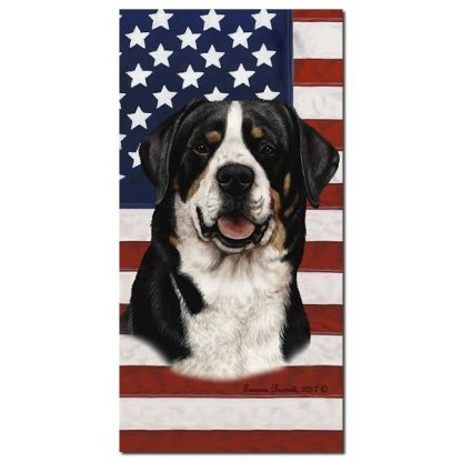 Greater Swiss Mountain Dog Beach Towel - Patriotic