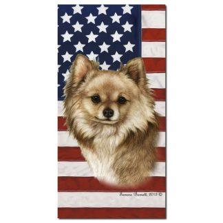 Chihuahua Beach Towel - Patriotic (Longhair)