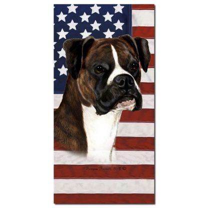 Boxer Beach Towel - Patriotic (Brindle Uncropped)