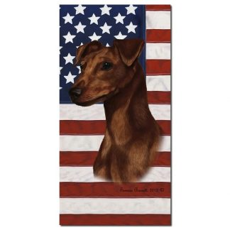 Miniature Pinscher Beach Towel - Patriotic (Red Uncropped)