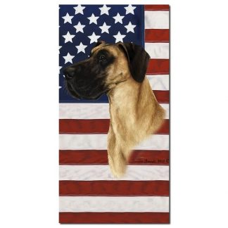 Great Dane Beach Towel - Patriotic (Fawn Uncropped)
