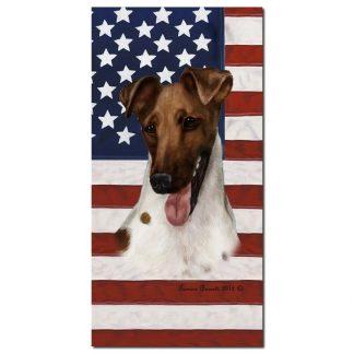 Smooth Fox Terrier Beach Towel - Patriotic (Brown)