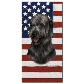 Irish Wolfhound Beach Towel - Patriotic (Black)