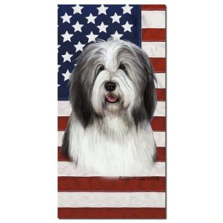 Bearded Collie Beach Towel - Patriotic (Blue)