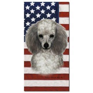 Silver Poodle Beach Towel - Patriotic
