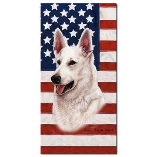 German Shepherd Beach Towel - Patriotic (White)