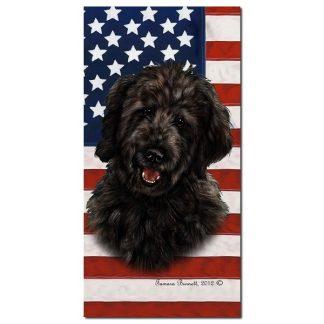 Goldendoodle Beach Towel - Patriotic (Black)