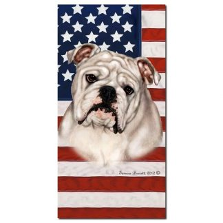 Bulldog Beach Towel - Patriotic (White)