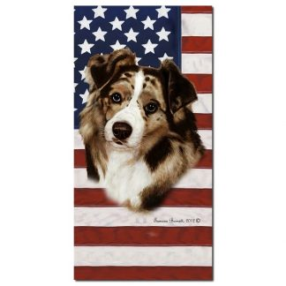 Red Merle Australian Shepherd Beach Towel - Patriotic