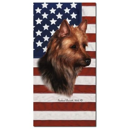 Australian Terrier Beach Towel - Patriotic