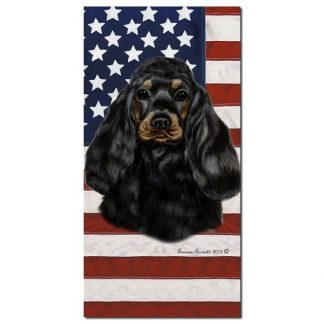 Black Tan Cocker Spaniel Beach Towel - Patriotic