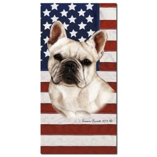 French Bulldog Beach Towel - Patriotic (White)