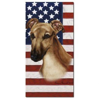 Greyhound Beach Towel - Patriotic (Fawn)
