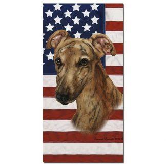 Greyhound Beach Towel - Patriotic (Red Brindle)