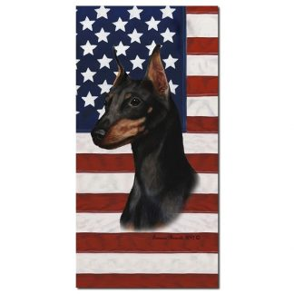 Miniature Pinscher Beach Towel - Patriotic (Black Tan)