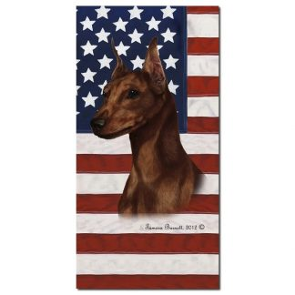 Miniature Pinscher Beach Towel - Patriotic (Red)