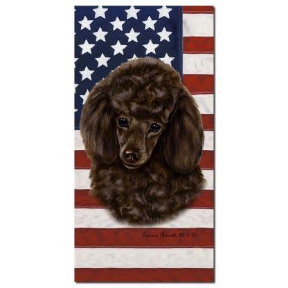 Chocolate Poodle Beach Towel - Patriotic