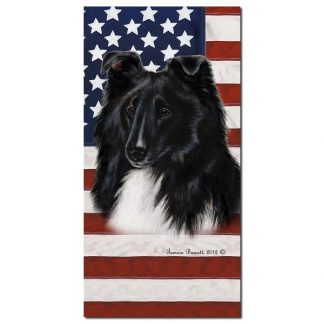 Bi Black Shetland Sheepdog Beach Towel - Patriotic
