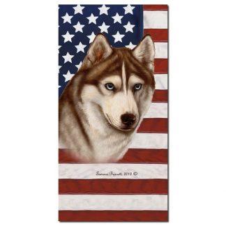 Siberian Husky Beach Towel - Patriotic (Red)