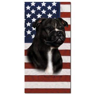 Staffordshire Bull Terrier Beach Towel - Patriotic (Black White)
