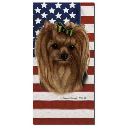 Yorkshire Terrier Beach Towel - Patriotic (Bow)