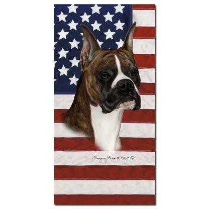 Boxer Beach Towel - Patriotic (Brindle Cropped)