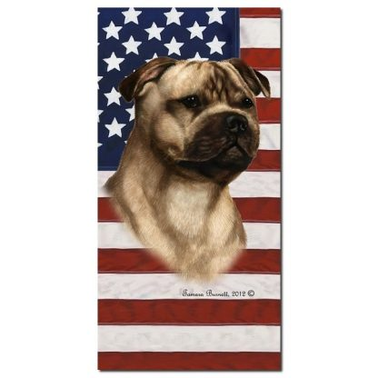 Staffordshire Bull Terrier Beach Towel - Patriotic (Fawn)