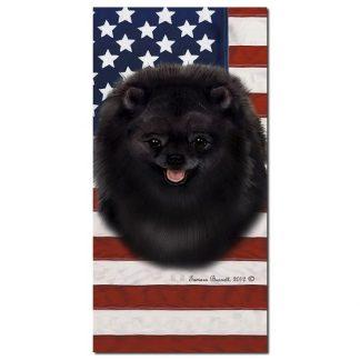 Pomeranian Beach Towel - Patriotic (Black)