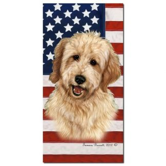 Goldendoodle Beach Towel - Patriotic (Blonde)