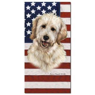 Goldendoodle Beach Towel - Patriotic (White)