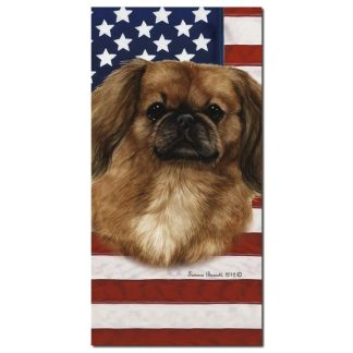 Pekingese Beach Towel - Patriotic (Red)