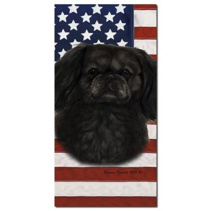 Pekingese Beach Towel - Patriotic (Black)