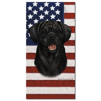 Puggle Beach Towel - Patriotic (Black)