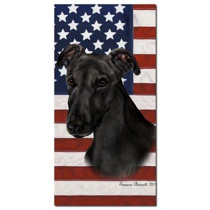 Greyhound Beach Towel - Patriotic (Black)